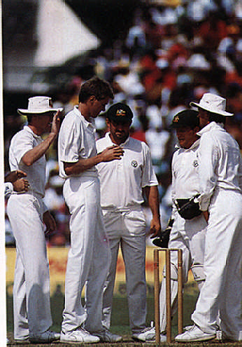 Australians (left to right) Mark Waugh, Ian Healy, Geoff Marsh, Bruce Reid, Craig MacDermott. Photograph by Caribbean Sport