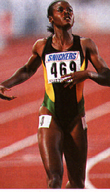 Stuttgart 1993, the 200 metres final: Merlene Ottey wins her first world gold medal. Photograph by Allsport/Gray Mortimore
