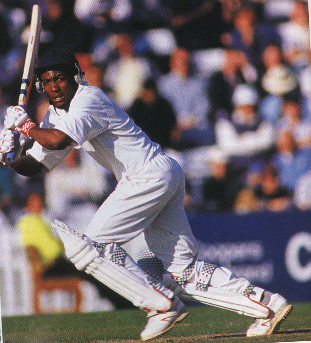 Brian Lara in full cry for Warwickshire against Surrey in the semi-final of the Benson and Hedges Cup in July. Photograph by Ben Radford/Allsport