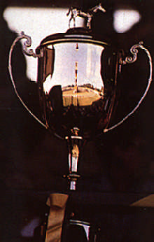 The coveted Cockspur Gold Cup, reflecting the Garrison Savannah track in Barbados. Photograph by Eleanor Chandler