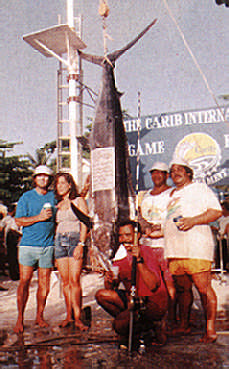 A 426.5-pound blue marlin was the reward for Robert Fournellier (stooping) in Tobago's Carib International Tournament. Photograph by Ranji Ganase/Carib