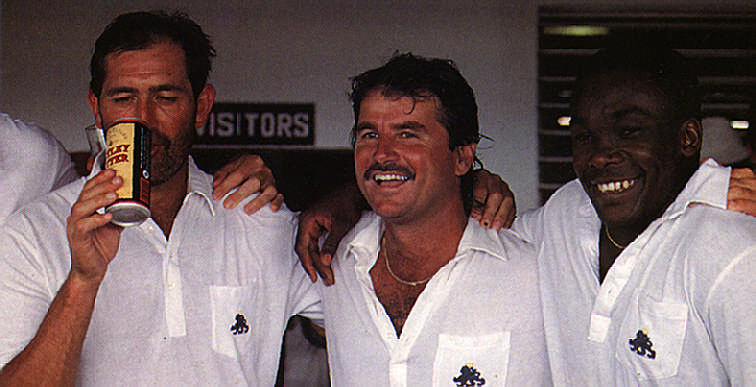 Gooch, Lamb and Small celebrate England's victory in the opening test on their last Caribbean tour in 1990.  Photograph by Stephen Thorpe