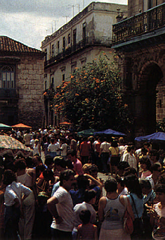 Saturday craft market in old Havana's Cathedral Square. Photograph by Juliet Barclay