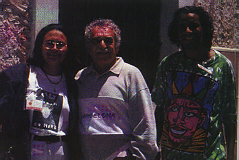 The celebrated Columbian Gabriel Garcia Marquez was one of the many visitors to the Havana Biennial. He is seen here in a chance encounter with Aruba's Auda Marquez (left) and Trinidad and Tobago's Chris Cozier