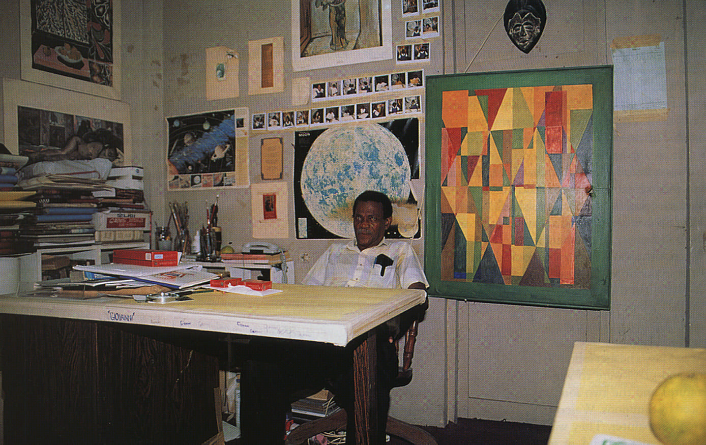 St. Omer in his studio at the Ministry of Culture in Castries. Photograph Chris Huxley