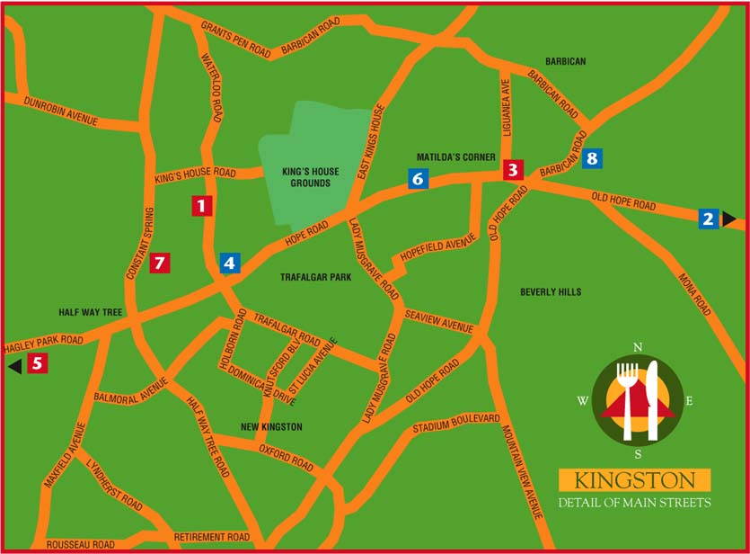 food map for 10 meals in and around Kingston