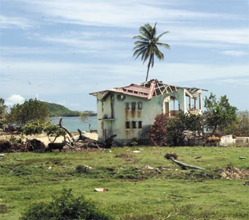 Ruined house at Bathway Beach, near the north-eastern tip of Grenada. Photograph by Roberta Parkin