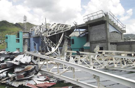 Devastation at the National Cricket Stadium in St. George's. Photograph by Roberta Parkin