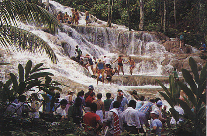 The famous Dunns River Falls. Photograph by Roy O'Brien/ Jamaica Tourist Board