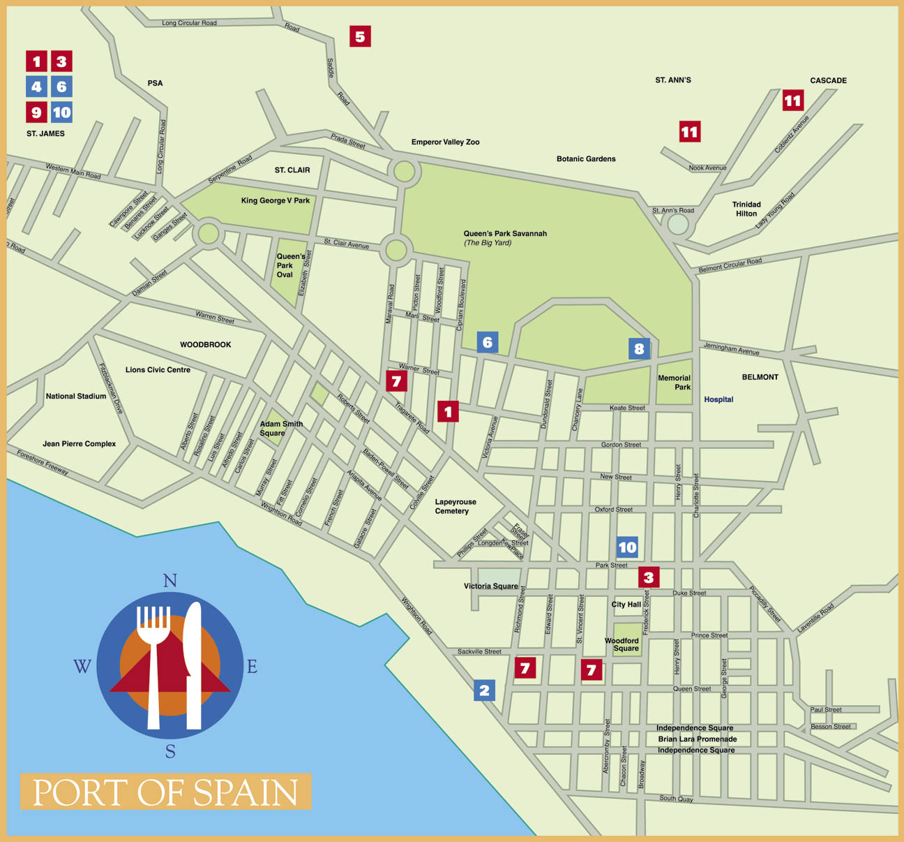 Food map of Port of Spain