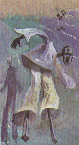 African influences: Christmas masquerades in Antigua and Jamaica draw on slaves dances and costumes which were often parodies of European slave owners. Illustration by Wendell Mc Shine