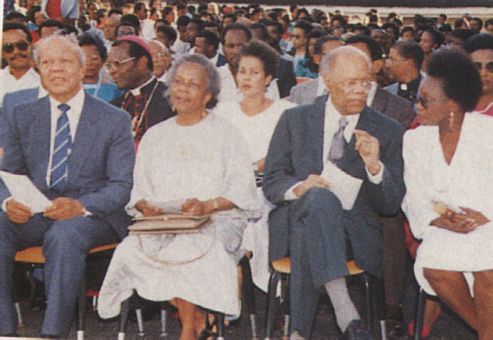 In St. Lucia for the 1988 graduation exercises of the Sir Arthur Lewis Community College; St. Lucia Prime Minister John Compton is at left next to Lady Gladys Lewis. Photograph courtesy Pearlette Louisy
