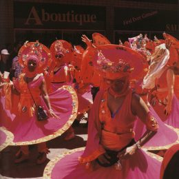 Masqueraders from Peter Minshall's controversial 1995 band Hallelujah in downtown Port of Spain. Photograph by Bertrand de Peaza