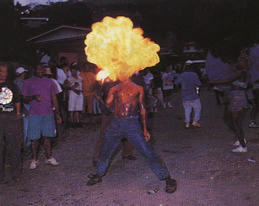 J'Ouvert fireball. Photograph by Bertrand de Peaza