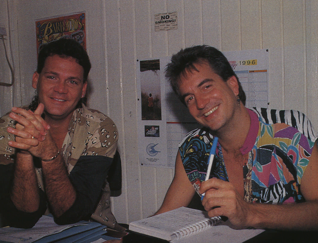 Dean and Roger in conversation in the Spice office. Photograph by Roxan Kinas
