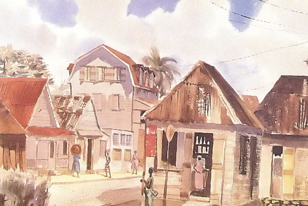 The view from the Walcott house in Castries, painted in the early 1960s by Noel Vaucrosson. Courtesy M. Walcott