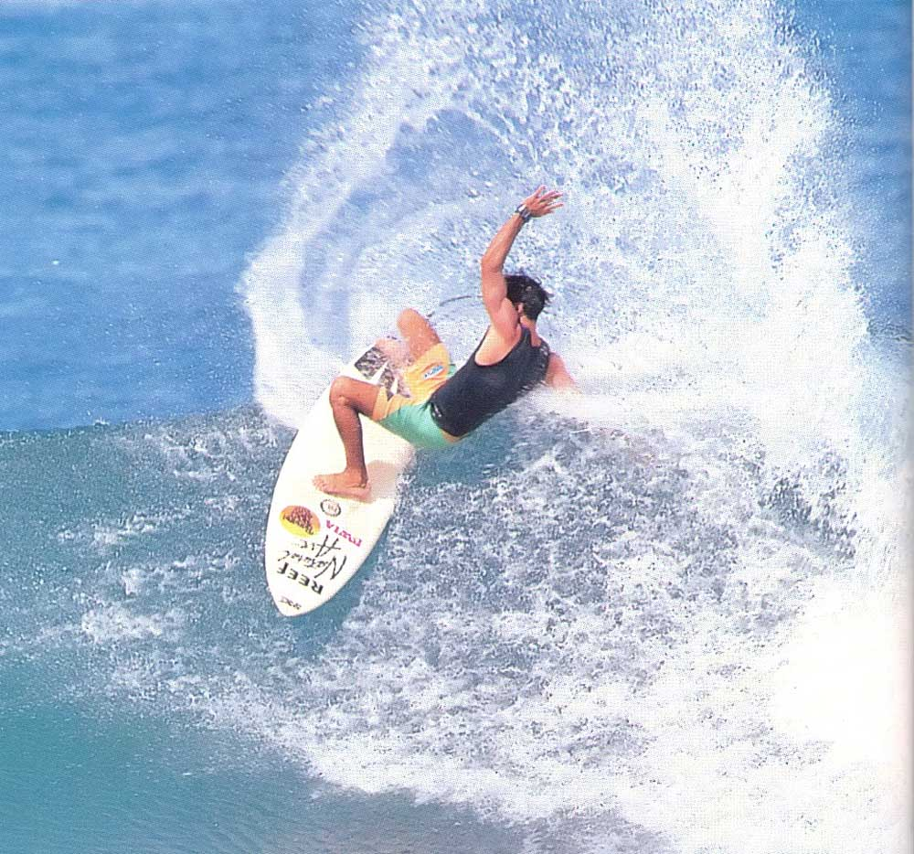 Barbadian surfer Alan Burke in action in Barbados. Photograph by Dick Meseroll