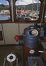 The ship's wheelhouse. Photograph by Chris Huxley