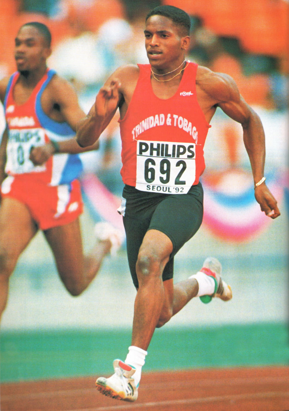 Ato Boldon in action at the World Junior Games in Seoul in 1992, where he won both 100 and 200 metres. Photograph by Gary M. Prior/ Allsport