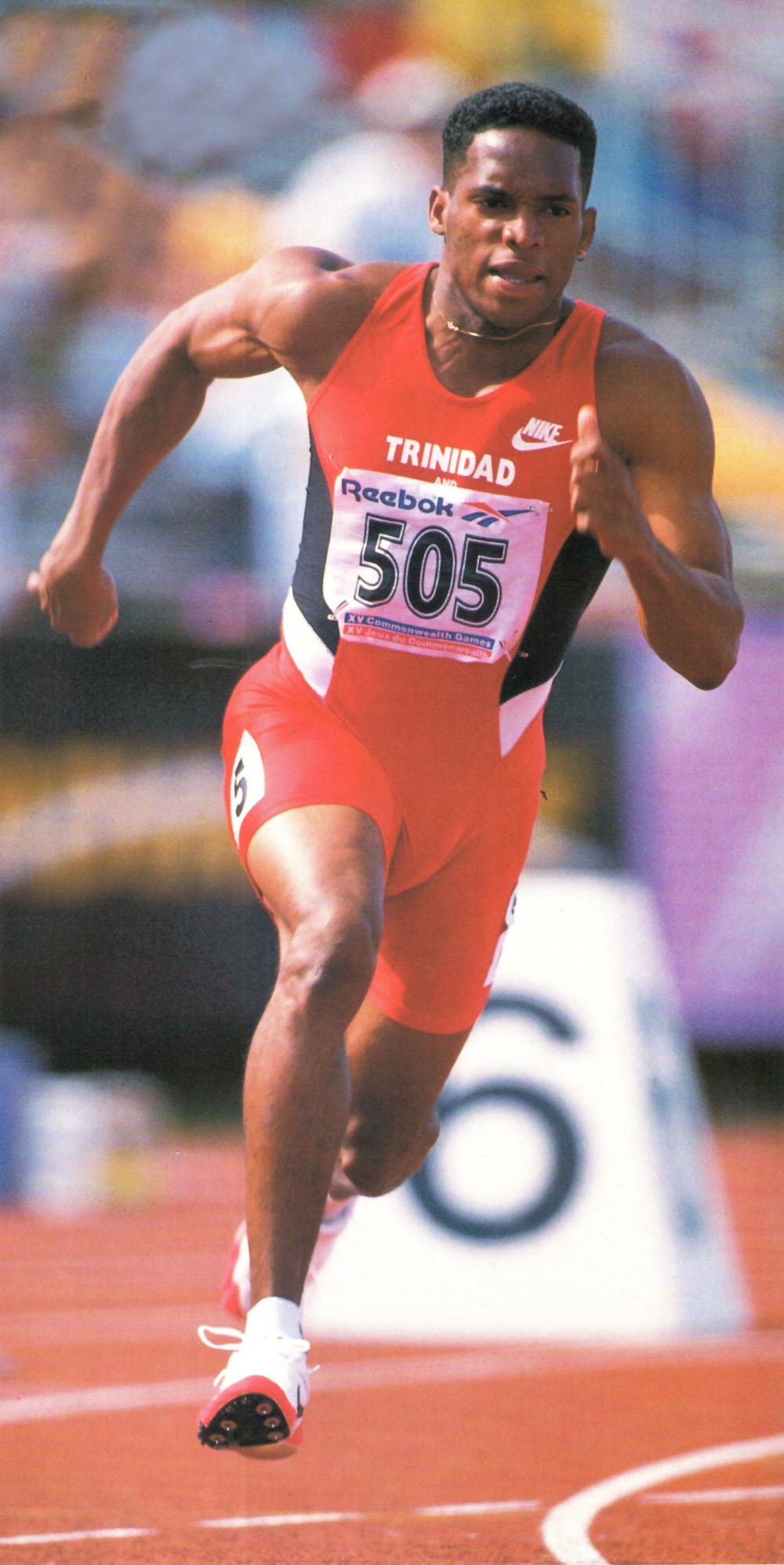 At the 1994 Common Wealth Games: Boldon moved up to fourth in the Commonwealth rankings. Photograph by Tony Duffy/ Allsport