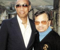 Alf Valentine and Sonny Ramadhin outside Ramadhin's pub during their 1990 reunion. Photograph courtesy Garry Steckles