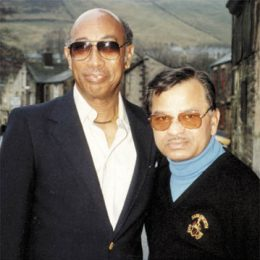 Alf Valentine and Sonny Ramadhin outside Ramadhin's pub during their 1990 reunion. Photograph courtesy Garry Steckles