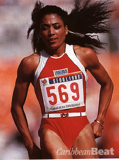 Florence Griffith-Joyner, heroine of the Seoul Olympics. Photograph by Allsport