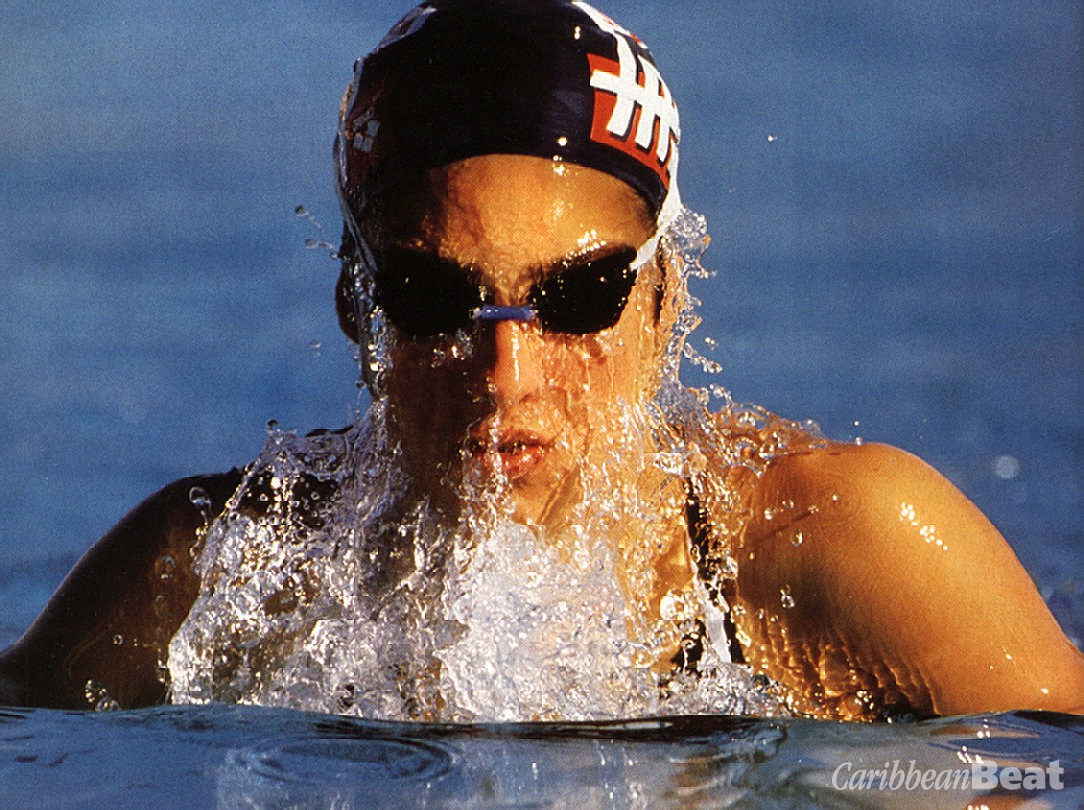 American swimmer Jane Evans was a big crowd pleaser in Seoul. Photograph by Allsport