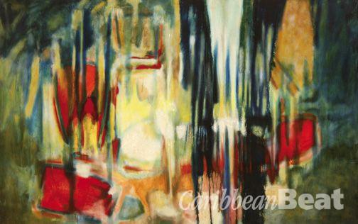 Shostakovich 1st Quartet Opus 49 (1981), by Aubrey Williams; oil on canvas, 132.1 x 208.3 cm. Photograph courtesy Hales Gallery