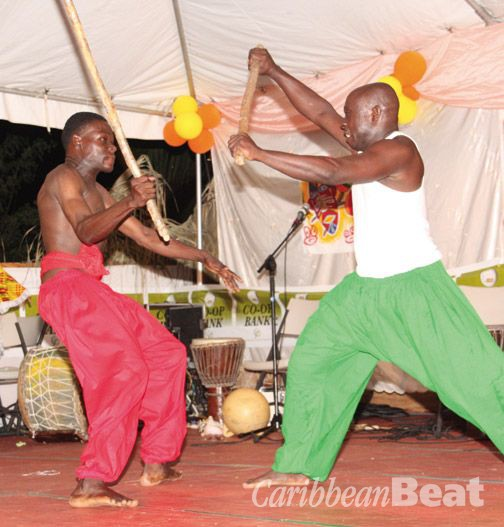 Traditional stick-fighting at the Grenada Drum Festival. Photograph courtesy Tivoli Drummers