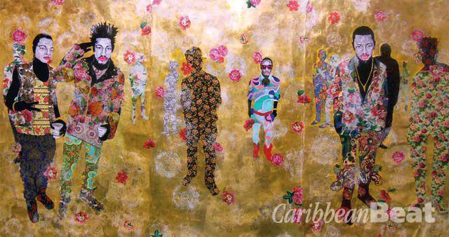 Untitled Lightz I (2013, mixed media on paper, 8.5 x 6.75 feet), by Ebony G. Patterson. Photograph courtesy Ebony G. Patterson/Monique Meloche Gallery
