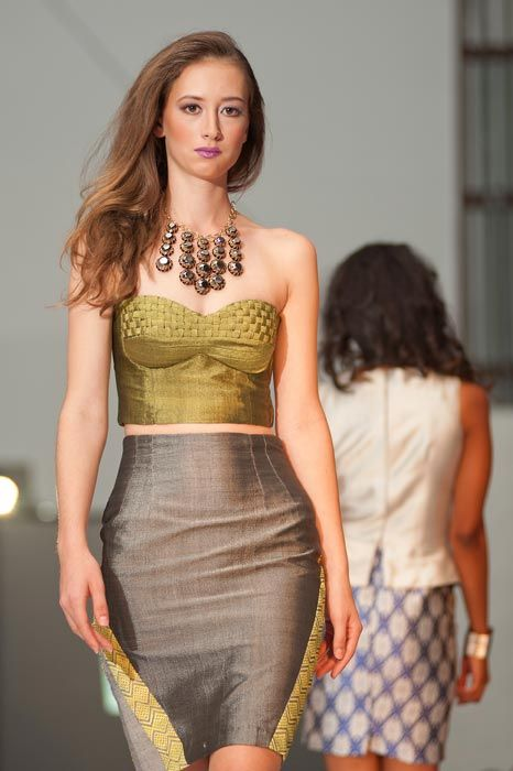 Admas silk and cotton blend woven bustier and diagonal pencil skirt. Photograph by Bernado Neri