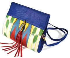A balanced combination of leather and silk makes this Makeda clutch a must-have. Photograph courtesy Kesi Gibson