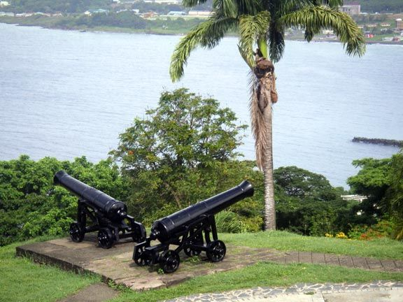 Cannons at Fort King George. Photograph by Donna Yawching