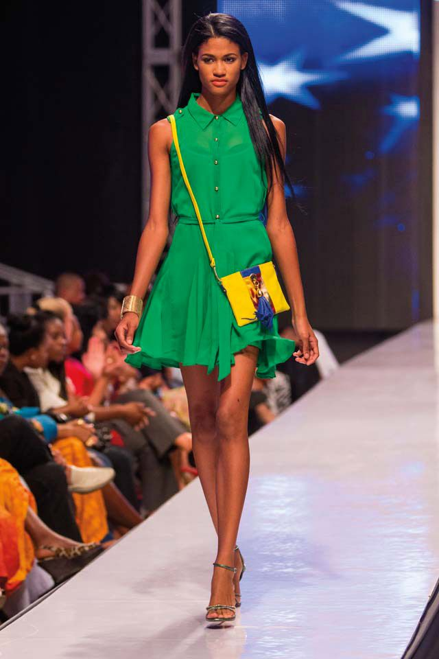 As seen on the Caribbean Fashion Week runway, the Lulu shoulder bag is for any woman on the go. Photograph courtesy Kesi Gibson
