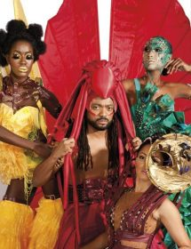 Montano and models showcase the costumes of K2K Alliance, a brand new Carnival band. Photograph by Marlon Rouse