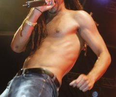 Soca artist Kees Dieffenthaller onstage at Island People's fete, Trinidad, during Carnival 2011. Photograph by David Wears