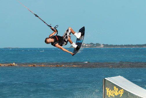 Kitesurfing at Jabberwock Beach. Photograph courtesy kiteantigua.com