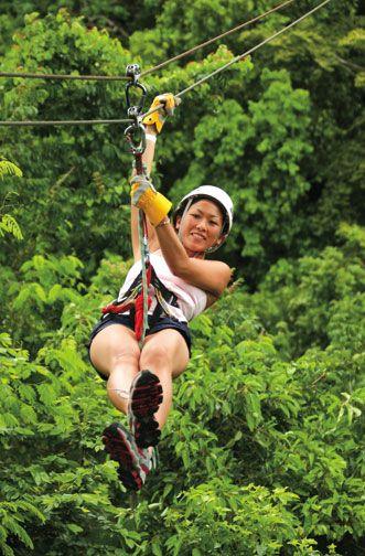 Zipping through the rainforest. Photograph courtesy Antigua Rainforest Company