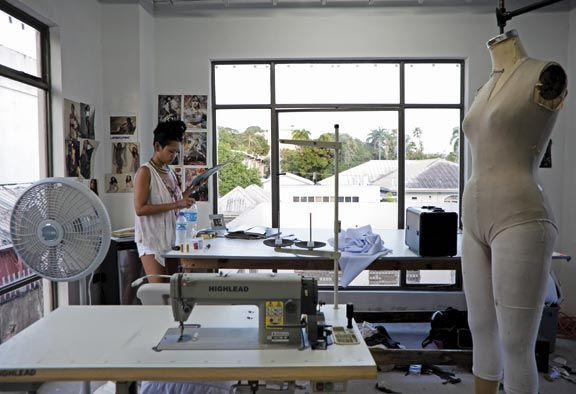 Ayoung-Chee at work in her studio in Trinidad. Photograph by Wyatt Gallery