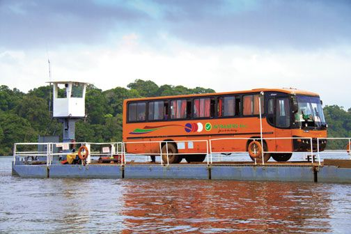 Ferry across the Essequibo. Photograph by Abigail Hadeed
