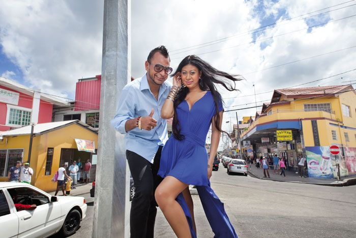 Ravi and Neysha. Photograph taken by Mark Lyndersay at the Sangre Grande Roundabout