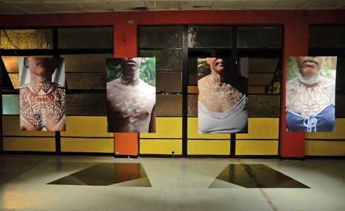 Bess Ting, Soldier, Queen, and Baby Girl, from the Ballad of Francisco Bobadilla (2012), installed at Granderson Lab in Belmont. Photograph courtesy Marlon Griffith / Akiko Ota