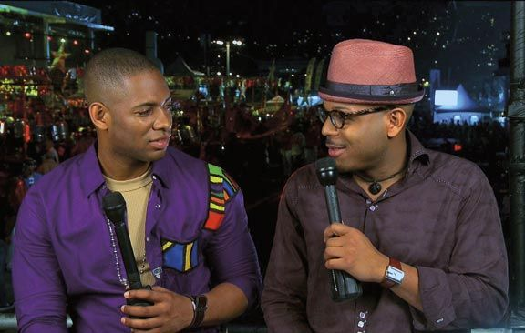 Carnival TV host Hans Des Vignes, left, with his co-host, jazz trumpeter Etienne Charles, broadcasts live from the 2011 National. Photograph courtesy Carnival TV
