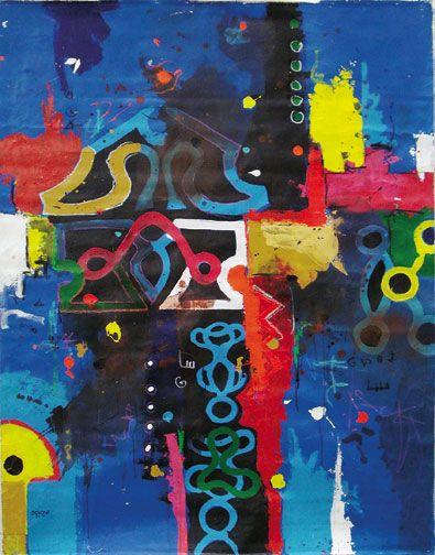 Baw Libi (2008), mixed media on canvas, 150 x 90 cm. Photograph courtesy Marcel Pinas/Readytex Art Gallery