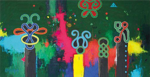 Mi De (2011), mixed media on canvas, 145 x 280 cm. Photograph by William Tsang, courtesy Marcel Pinas/Readytex Art Galleryart Gallery