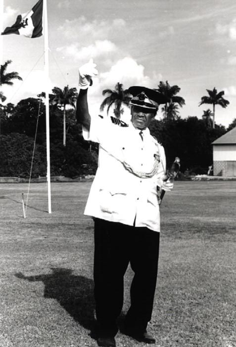 Commander Leon  Marshall of the BLS Cornwall on parade in the 1970s. Photograph courtesy the Barbados Government Information Service