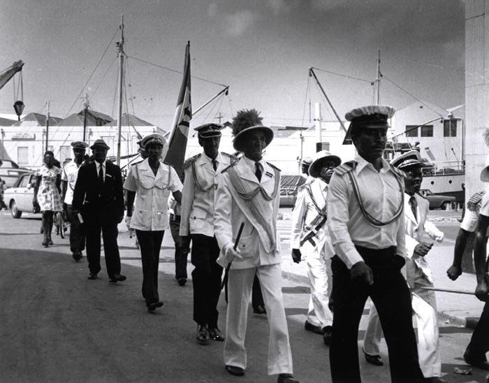 Landship officers in Bridgetown on Independence Day, 1973. Photograph courtesy the Barbados Government Information Service