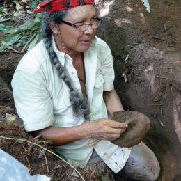 George Simon on site at the Berbice Mounds excavation. Photograph courtesy George Simon