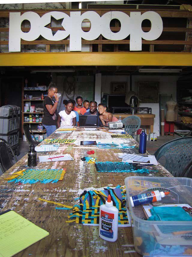 Artist Michael Edwards leads a workshop at Popopstudios. Photograph by Lisa Wells
